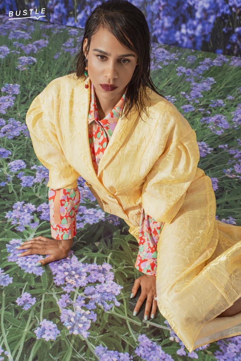 Zawe Ashton wears Rejina Pyo blazer, shirt and skirt