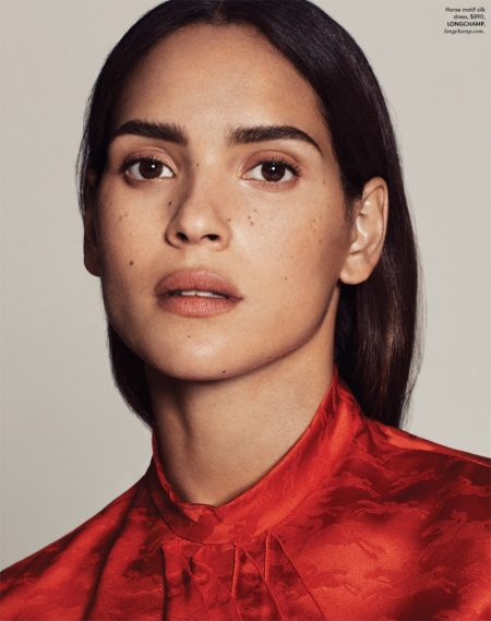Adria Arjona Poses in Shades of Red for DuJour