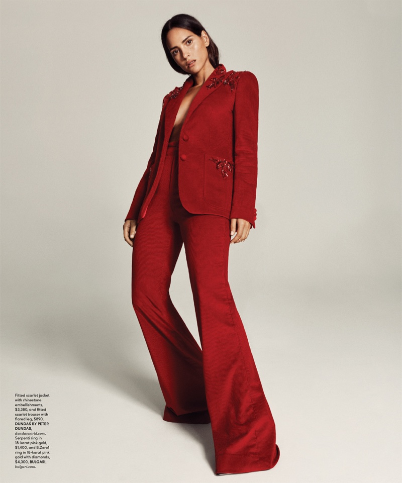 Suiting up, Adria Arjano wears Dundas by Peter Dundas pantsuit with Bulgari ring