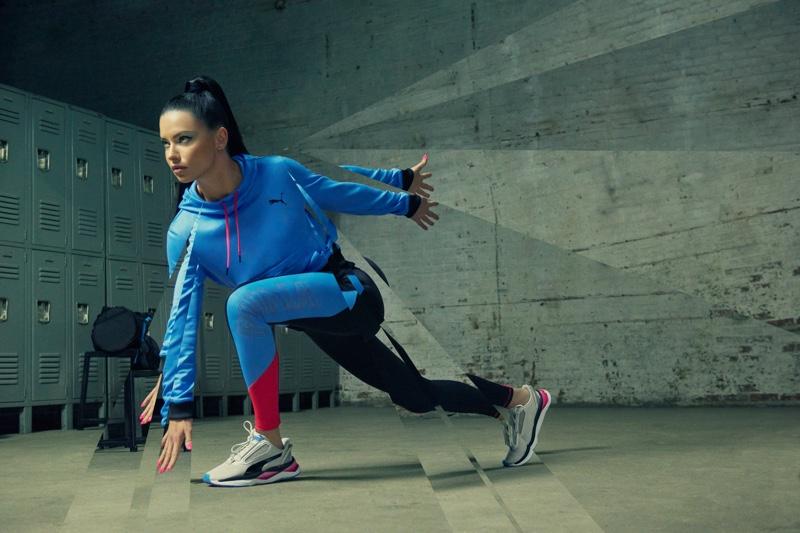 Adriana Lima stars in PUMA LQD CELL Shatter XT Shift sneaker campaign
