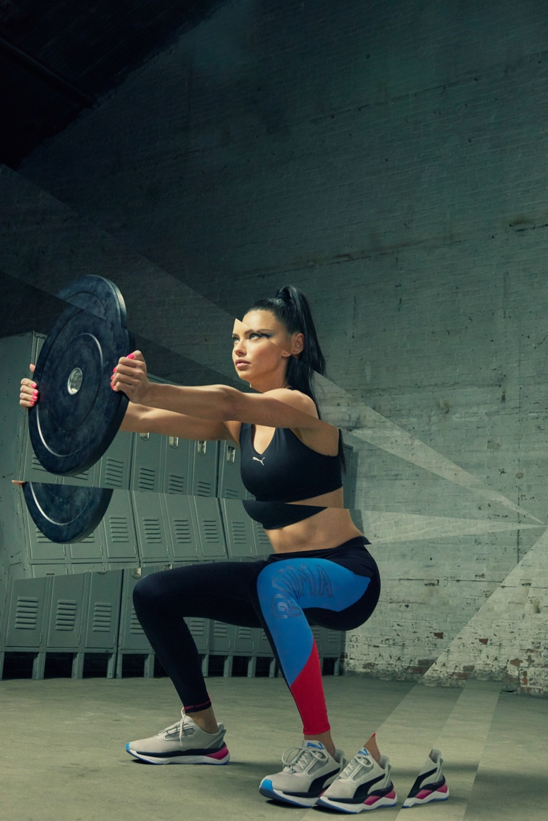 Adriana Lima gets a workout in PUMA LQD CELL Shatter XT Shift sneaker campaign
