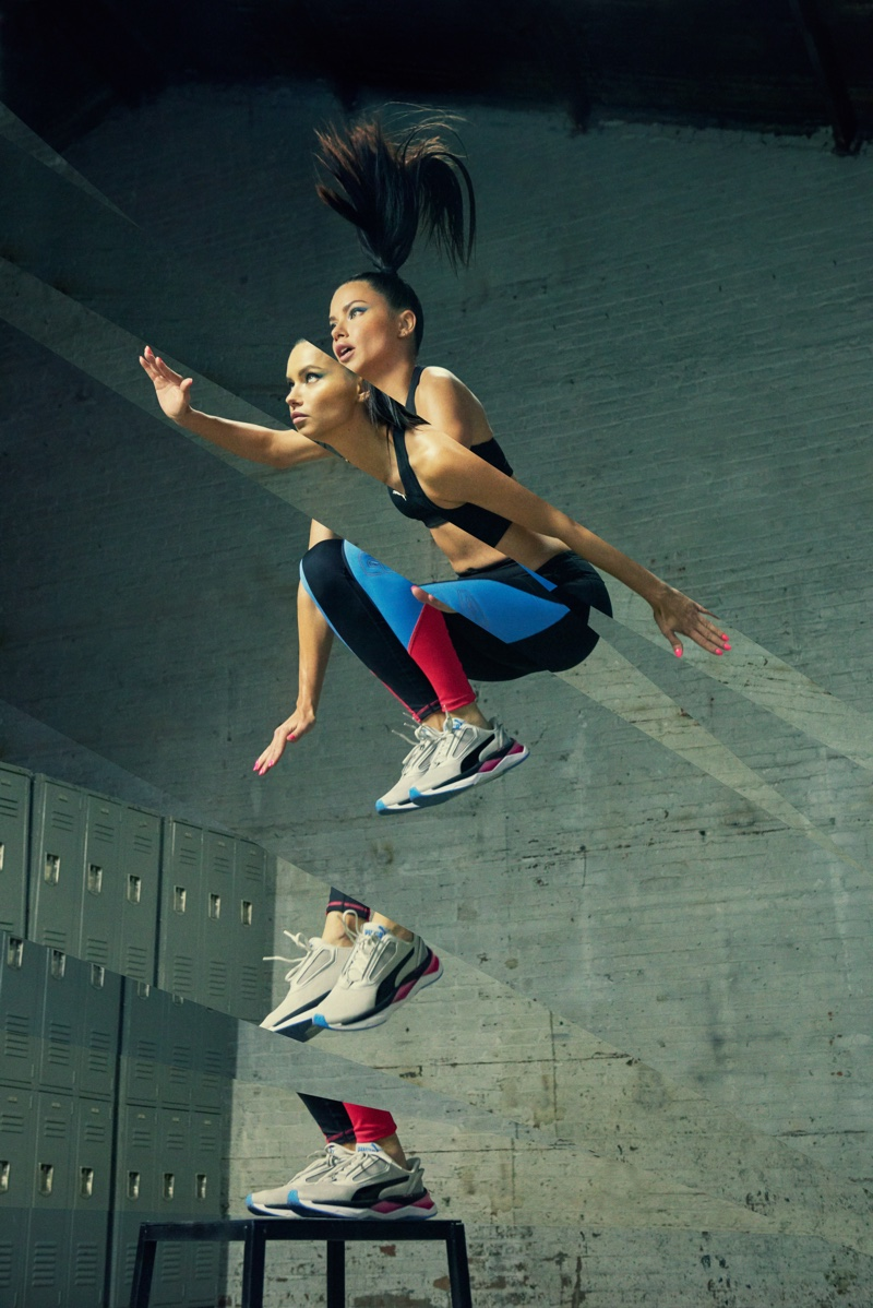 Jumping high, Adriana Lima appears in PUMA LQD Cell Shatter XT Shift campaign