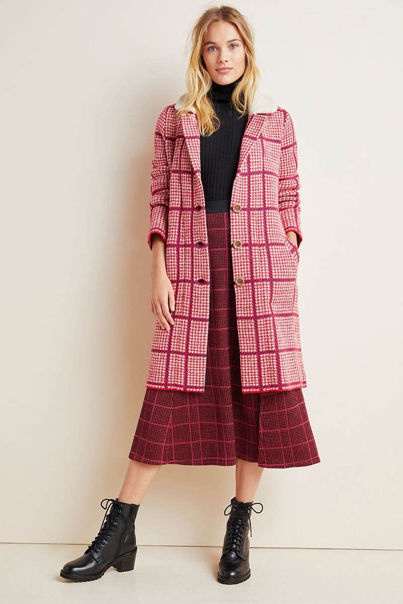 Aldomartins Petra Plaid Sweater Coat $348