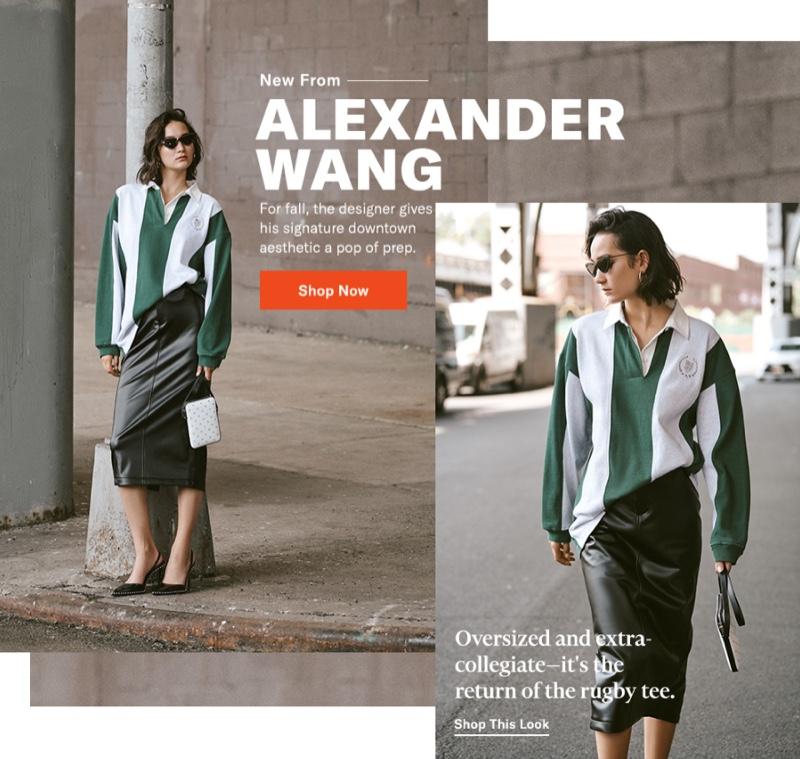 Alexander Wang Long Sleeve Rugby Collared Shirt $595, Peg Skirt $595, Scout Crossbody Bag $395 and Rina Slingback Heels $595
