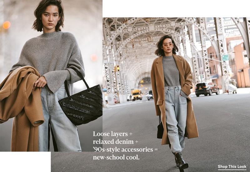 Alexander Wang Mock Neck Pullover $550, Denim x Alexander Wang Pack Mix Pants $325, Drop Shoulder Coat $1,495, Roxy Small Soft Tote $495 and Lane Boots $750