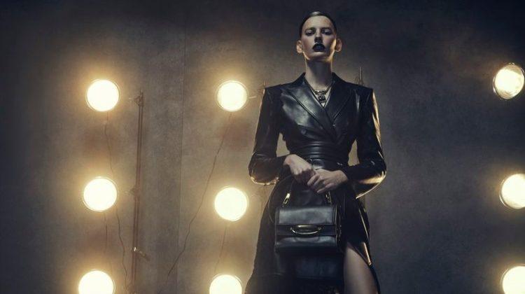 Amanda Murphy Poses in Sleek & Dark Looks for Vogue Greece