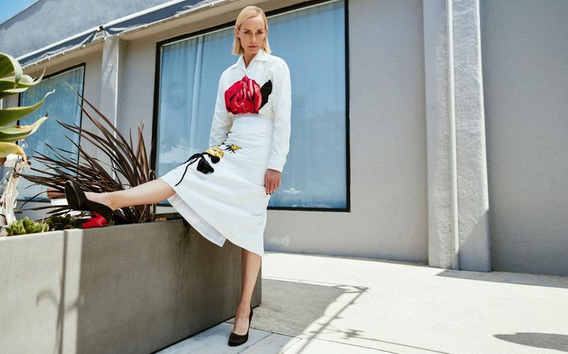 Amber Valletta Charms in Prada Designs for Vogue Korea