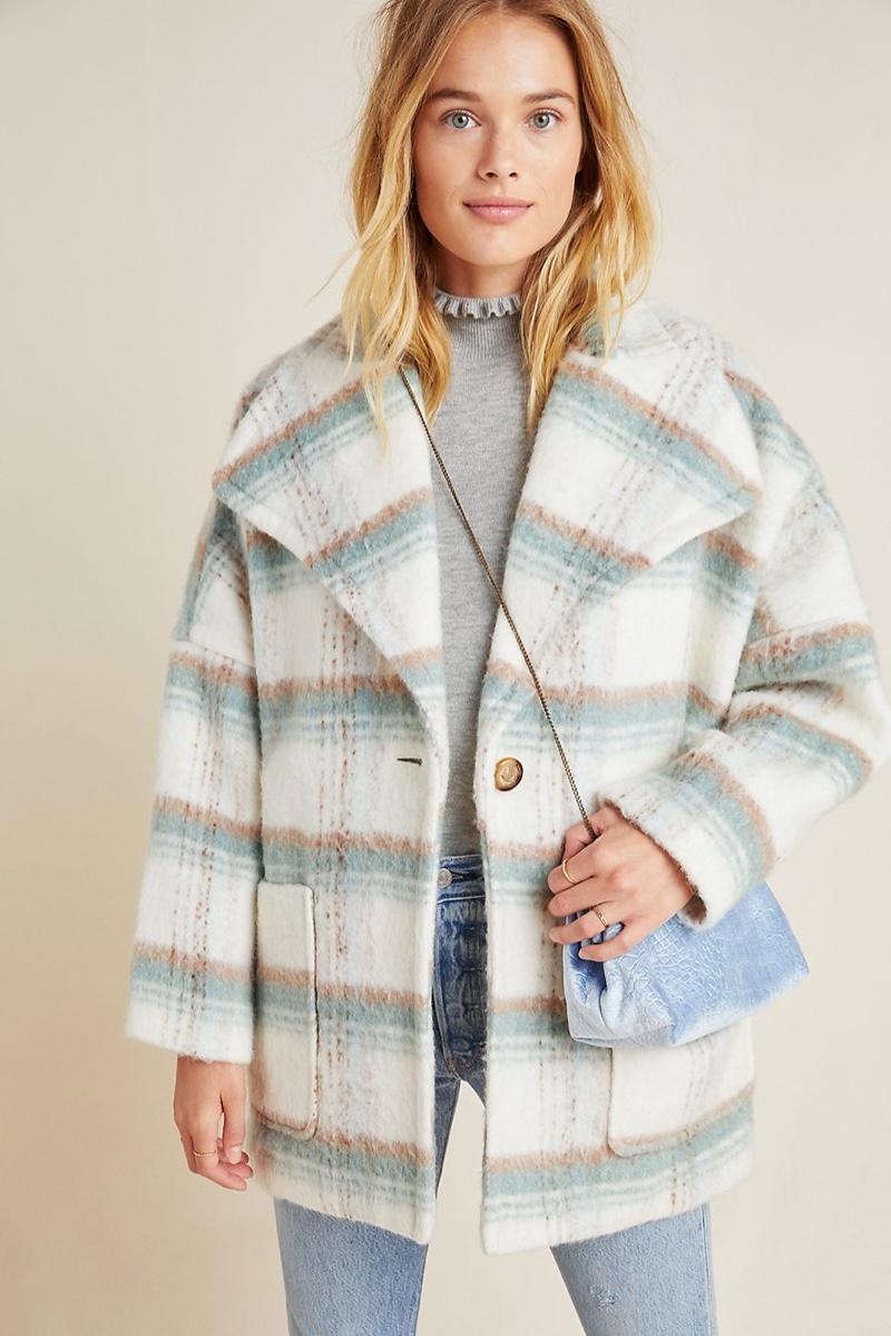 Anthropologie Elsa Plaid Coat $248