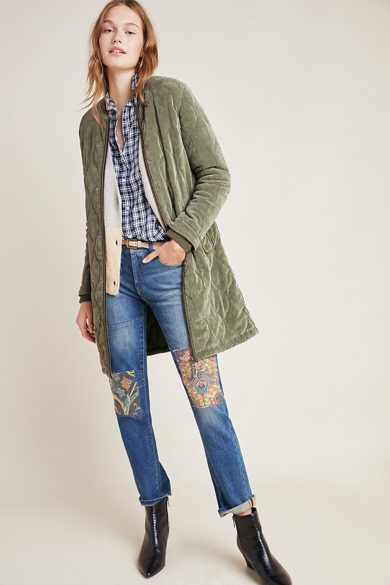 Anthropologie Quilted Corduroy Jacket in Moss $180