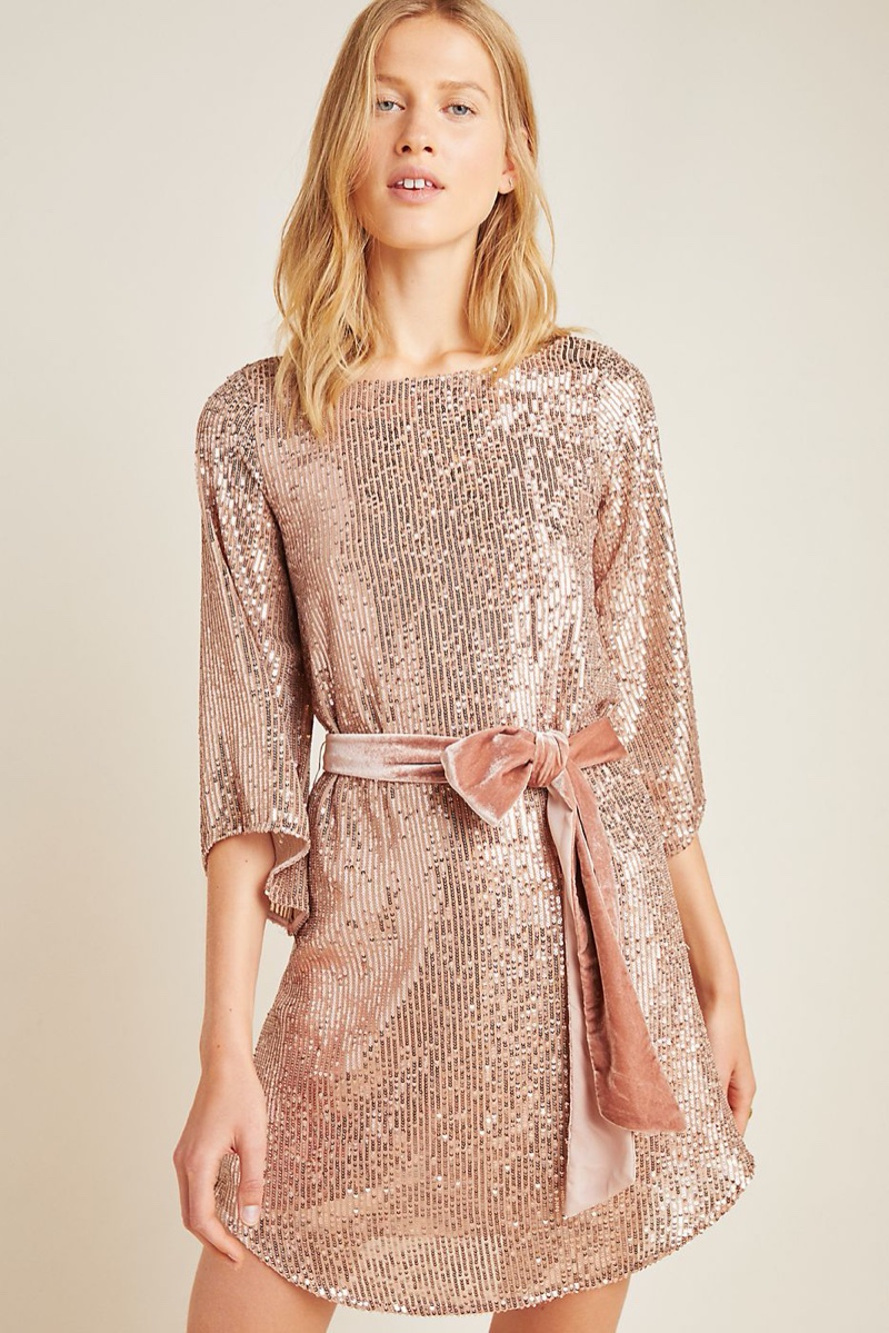 Anthropologie Starling Sequined Tunic in Pink $170