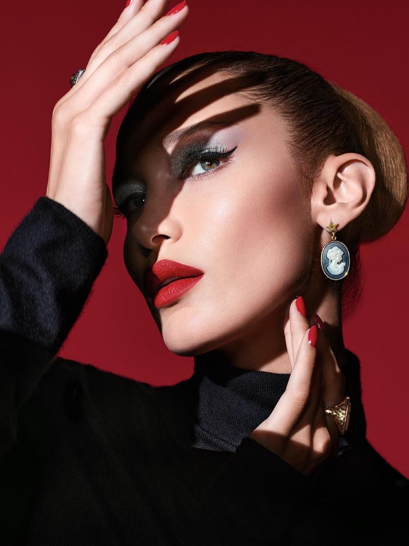 Bella Hadid poses in Dior Halloween 2019 makeup shoot