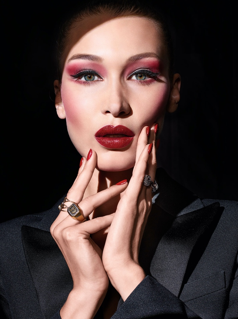 Bella Hadid tries on dramatic beauty for Dior Halloween makeup shoot