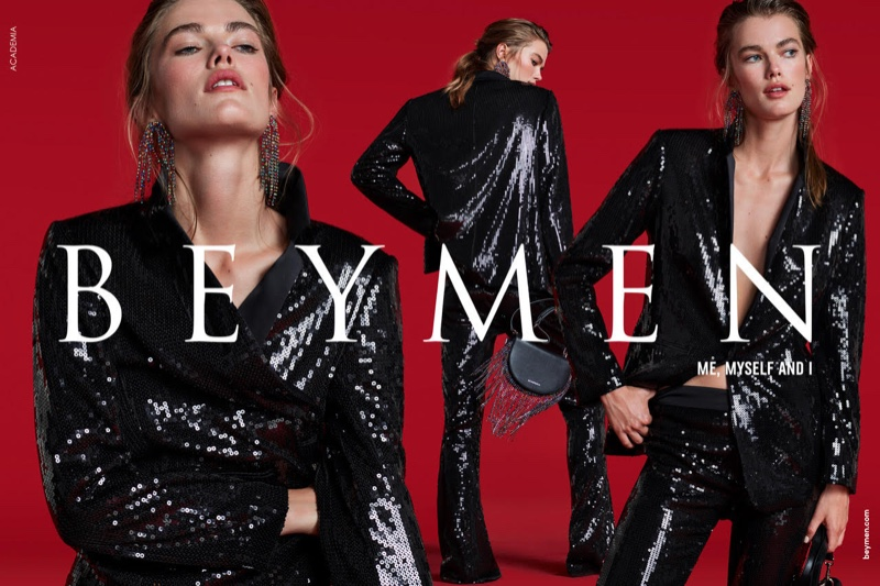 Model Mathilde Brandi poses in black for Beymen Collection fall-winter 2019 campaign