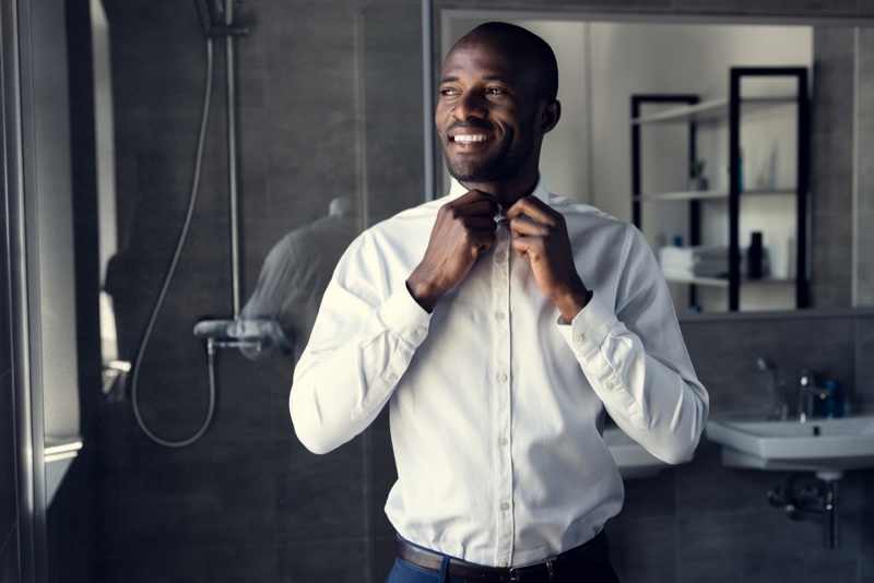 Black Male Model Button Up Shirt Bathroom