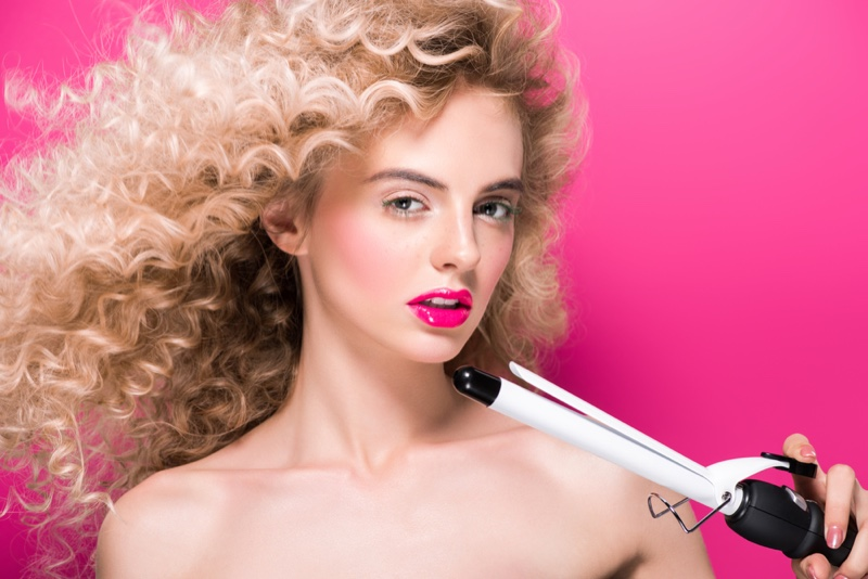 Blonde Model Curly Hair Curling Iron Beauty