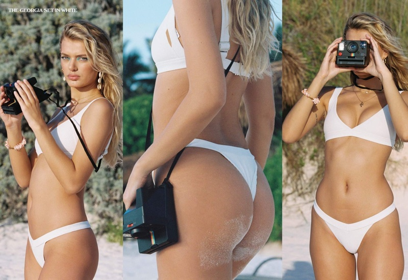 Bregje Heinen wears white swimsuit set in Frankies Bikini resort 2020 lookbook