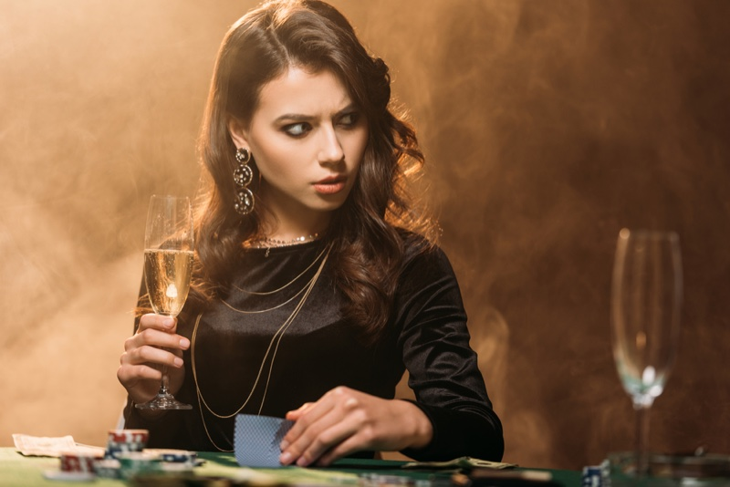 Brunette Woman Card Game Gambling Champagne Black Dress Earrings