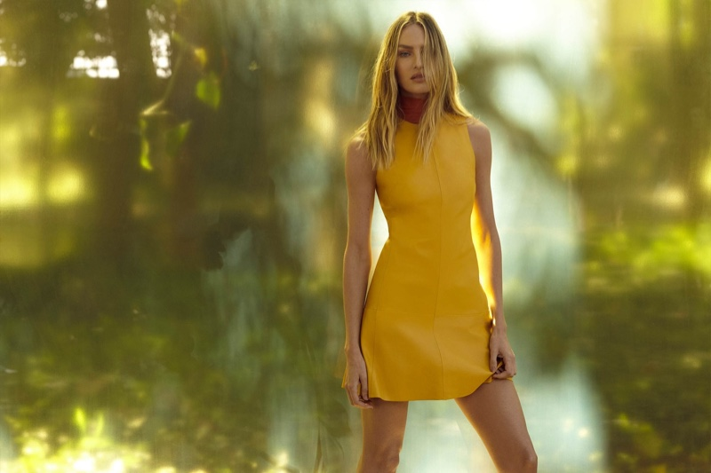 Candice Swanepoel models yellow dress for Animale Summer Garden 2019 campaign
