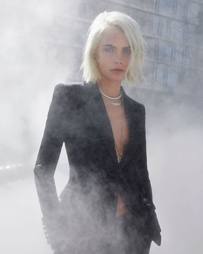 Suiting up, Cara Delevingne fronts Burberry Her Intense perfume campaign