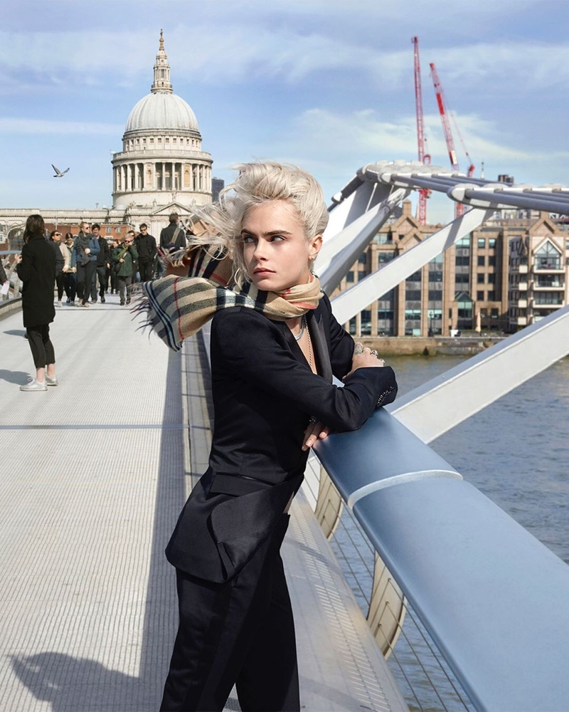 Model Cara Delevingne poses in London for Burberry Her Intense fragrance campaign