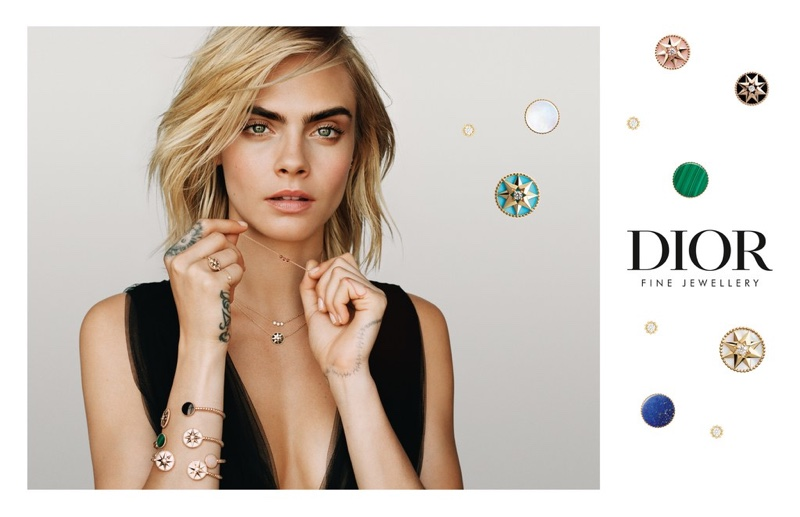 Model Cara Delevingne is the face of Dior Joaillerie Rose des Vents campaign