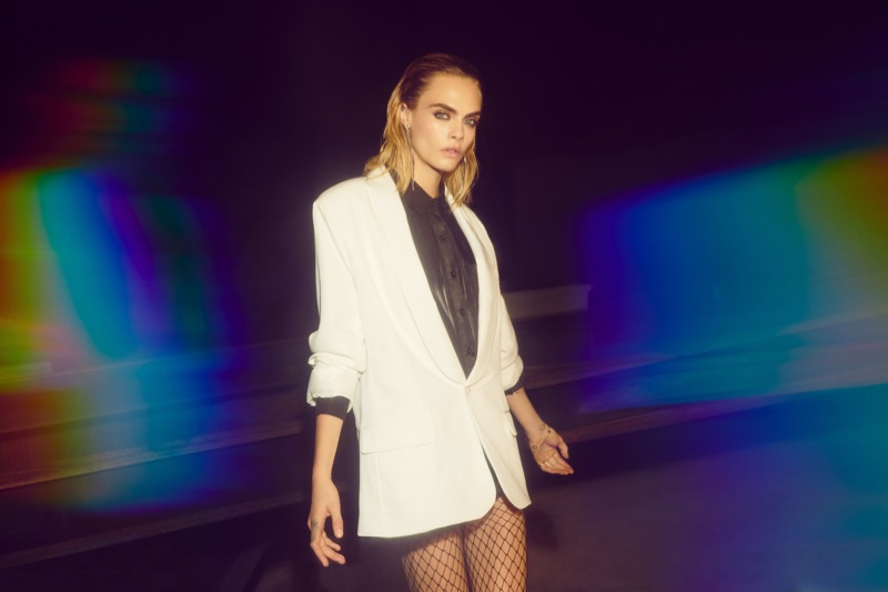 Model Cara Delevingne sports tailored blazer from Nasty Gal collaboration