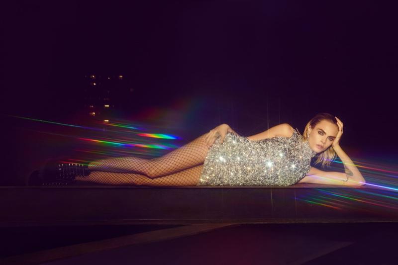 Model Cara Delevingne sparkles in Nasty Gal collaboration