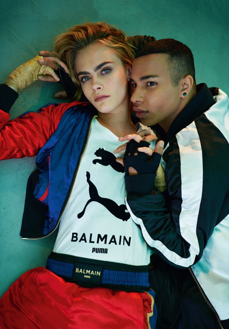 Cara Delevingne and Olivier Rousteing pose for PUMA x Balmain campaign