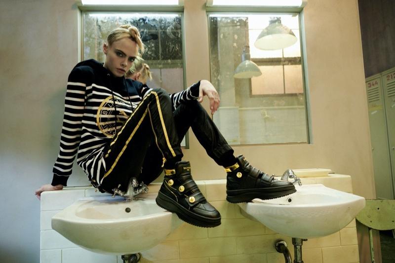 Model Cara Delevingne fronts PUMA x Balmain campaign