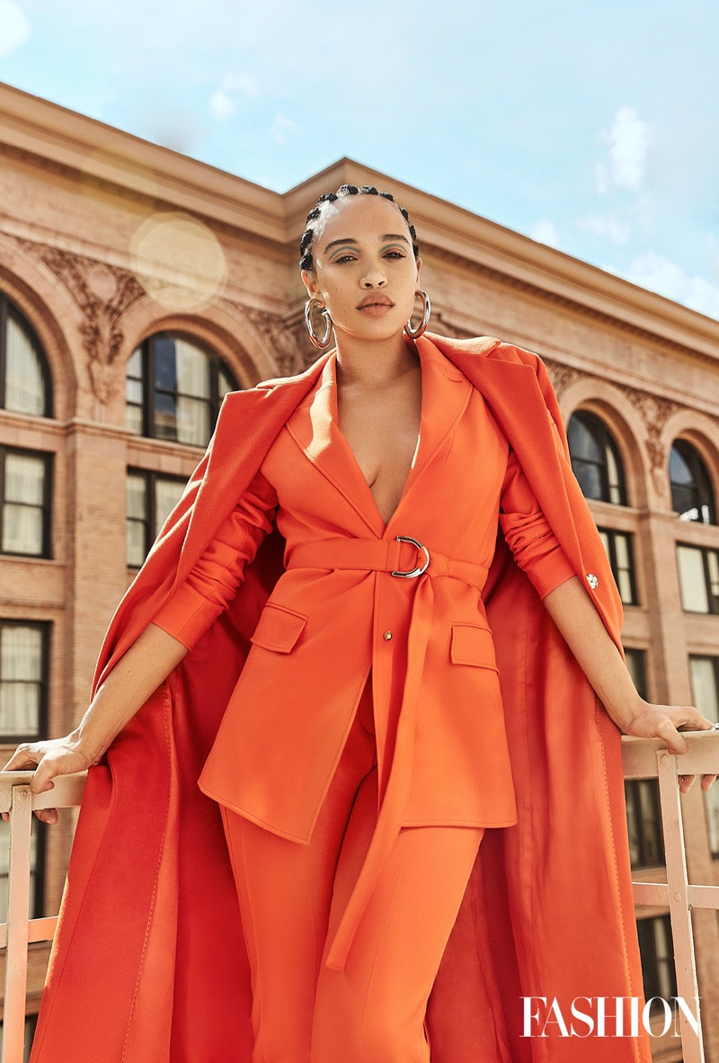 Suiting up, Cleopatra Coleman wears Hugo look with Jennifer Fisher jewelry