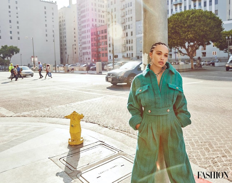 Actress Cleopatra Coleman poses in a Chanel look