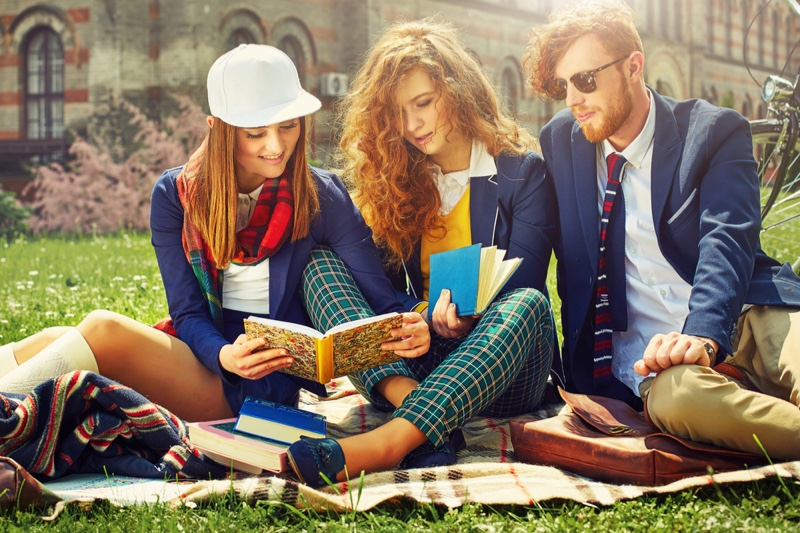 College Students Outdoors Grass Preppy Style