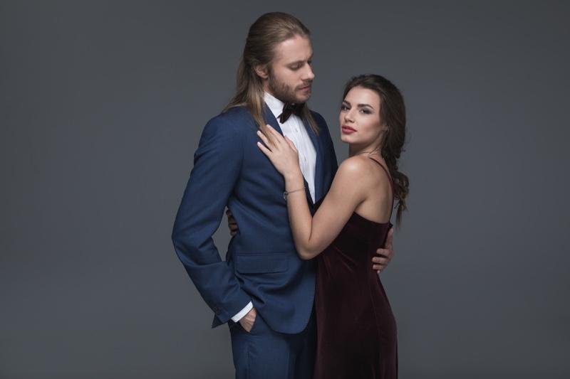 Couple Guy Long Hair Suit Woman Velvet Dress