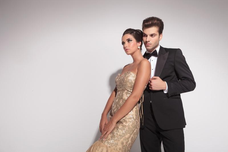 Couple Model Elegant Gold Gown Black Tuxedo