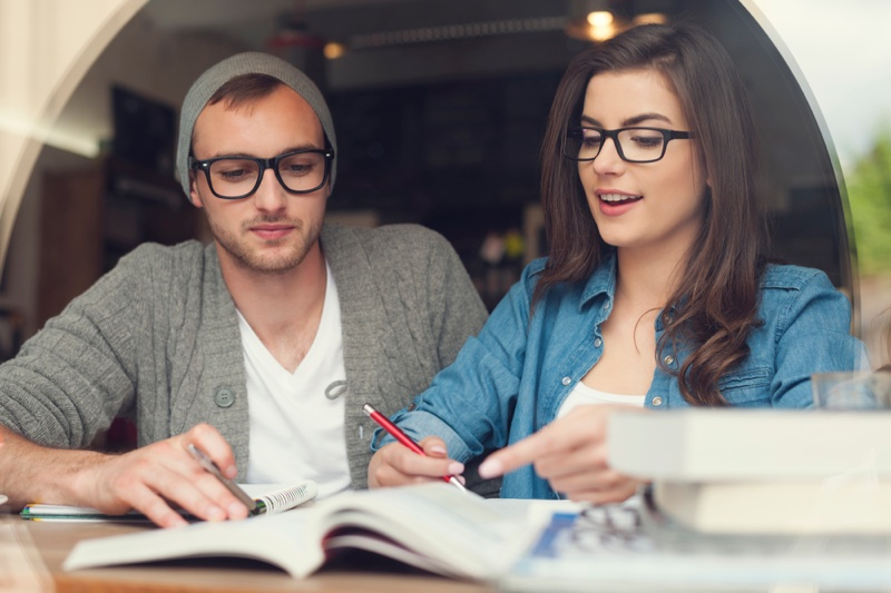 Couple Studying Students College Glasses Books