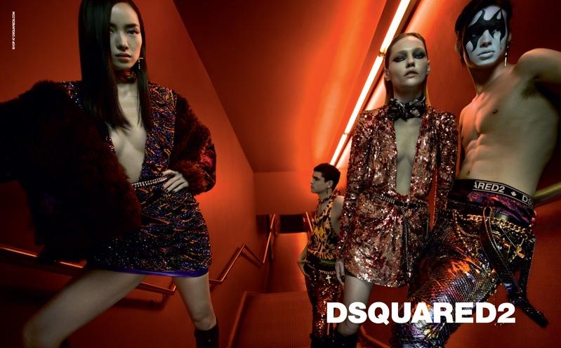 Fei Fei Sun, Sasha Pivovarova, Keenan Gyamfi and Louis Banes star in DSquared2 fall-winter 2019 campaign