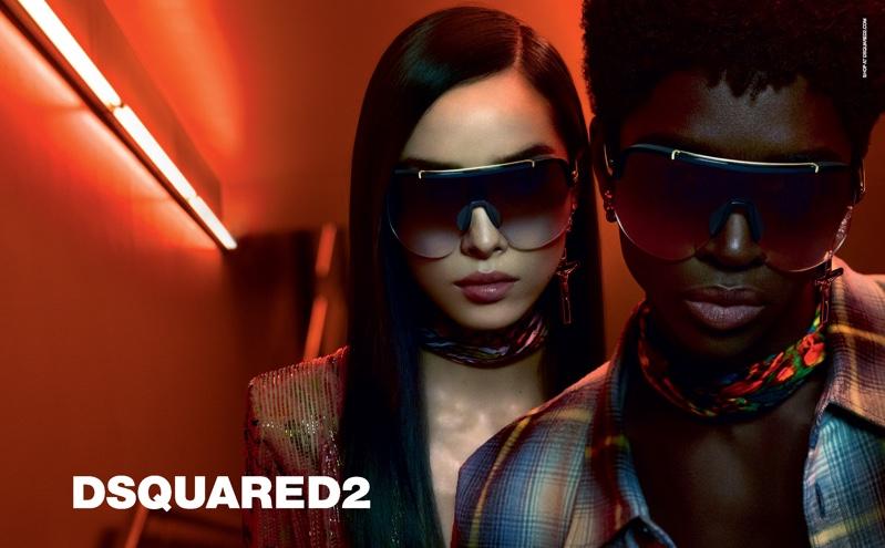 Fei Fei Sun and Alton Mason front DSquared2 Eyewear fall-winter 2019 campaign