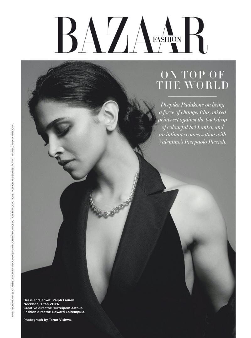 Actress Deepika Padukone poses in Ralph Lauren dress and jacket with Titan Zoya necklace