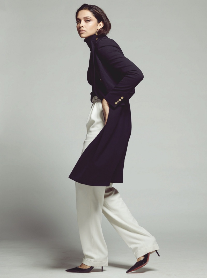 Actress Deepika Padukone poses in Ralph Lauren look with Christian Louboutin heels