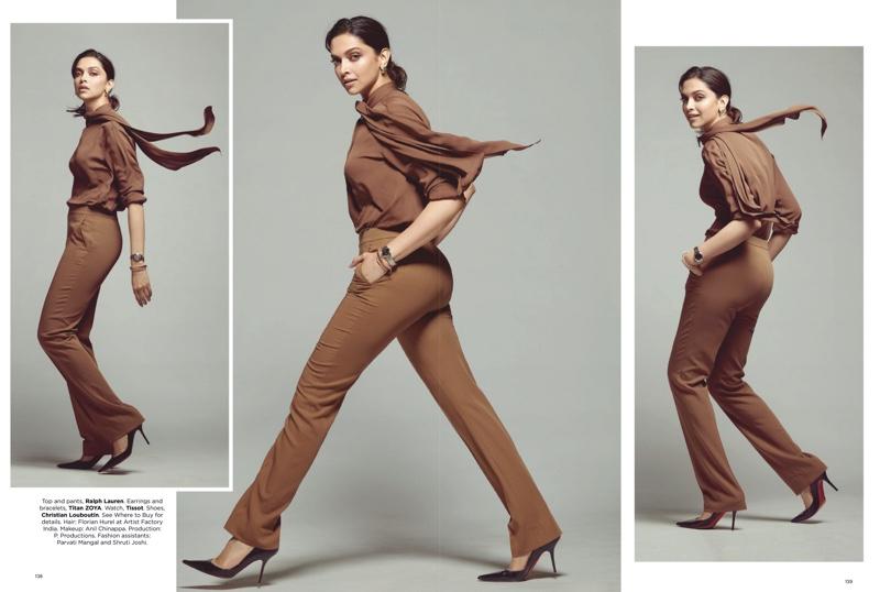 Actress Deepika Padukone wears Ralph Lauren top and pants with Christian Louboutin pumps