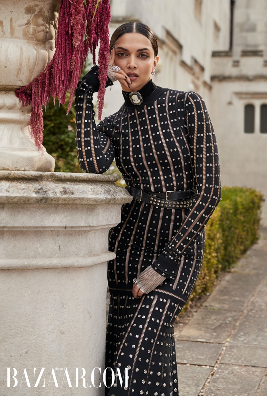 Actress Deepika Padukone wears Alexander McQueen dress and boots