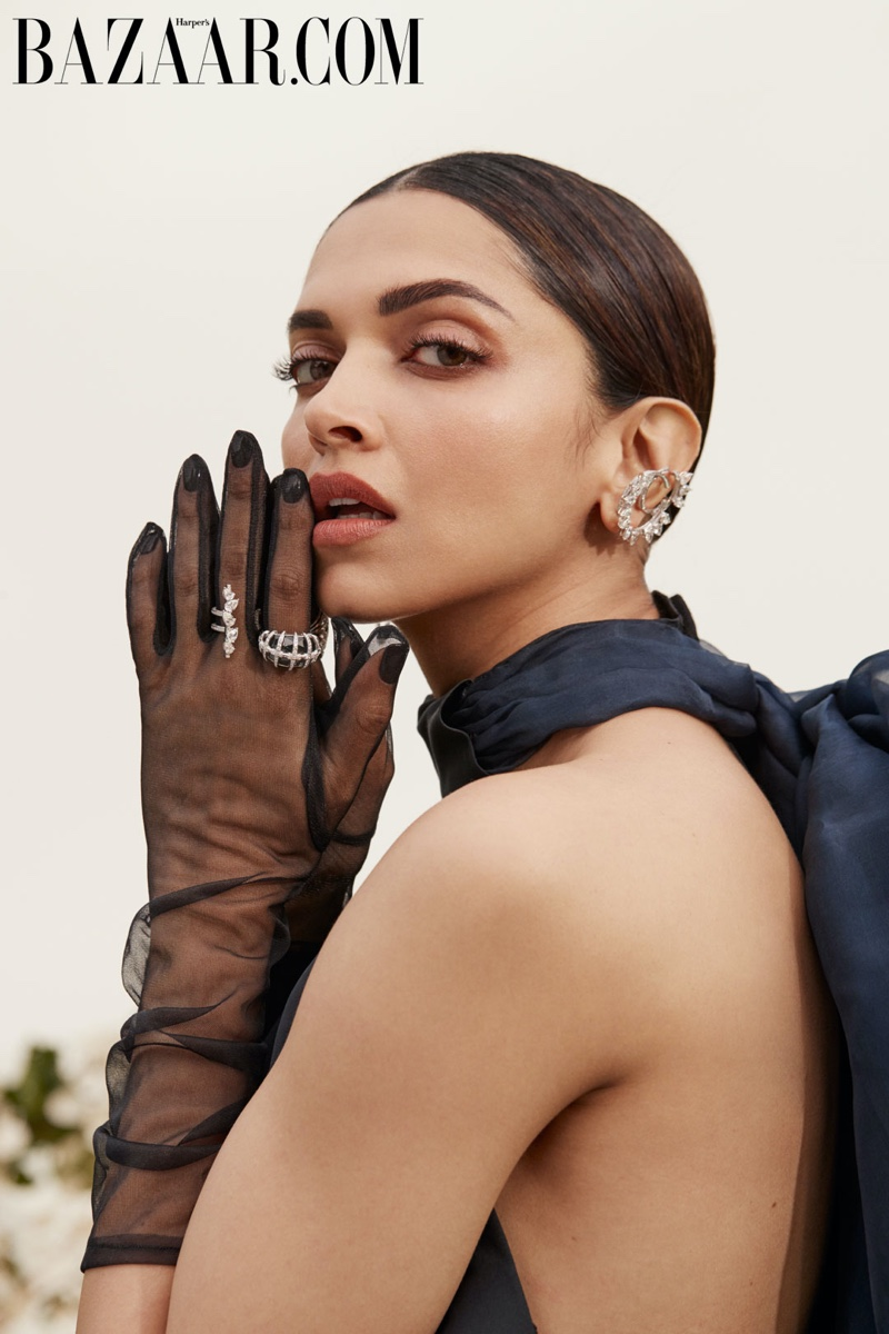 Ready for her closeup, Deepika Padukone poses in Rosie Assoulin gown and Lauren Urstadt gloves