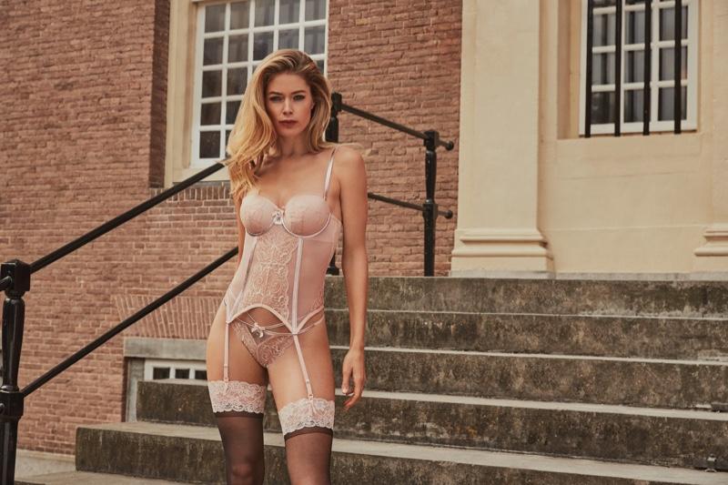 Looking pretty in pink, Doutzen Kroes fronts Hunkemoller lingerie 2019 campaign