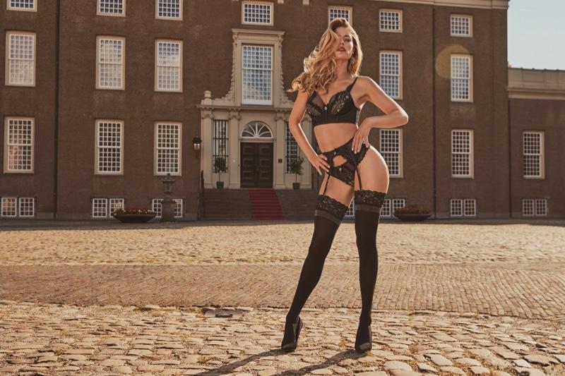 Clad in black, Doutzen Kroes fronts Hunkemoller lingerie 2019 campaign