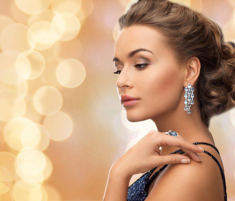 Elegant Woman Earrings Updo
