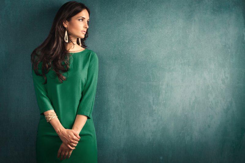 Elegant Woman Green Dress