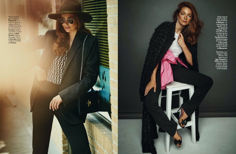 Eniko Mihalik Poses in Chic Fashions for ELLE Spain