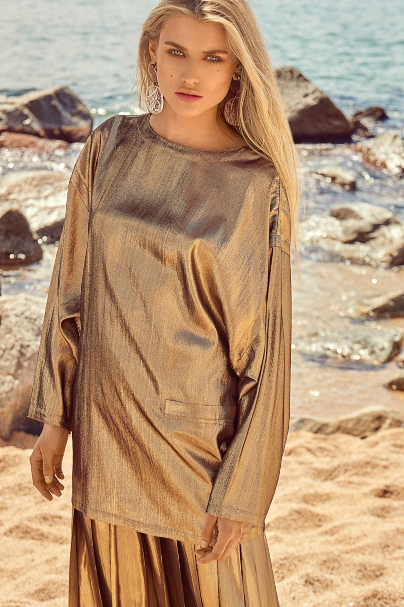 Sophie Wears Autumn Looks at the Beach for Grazia Pakistan