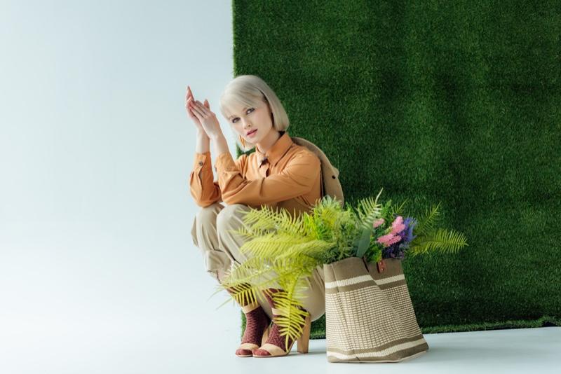 Fashion Model Green Grass Stylish Look Bag Plants