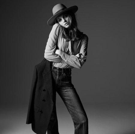 Fran Summers Models Celine's Chic Denim Styles